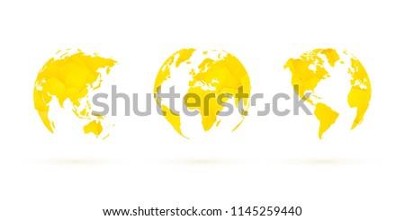 yellow geometric globes vector