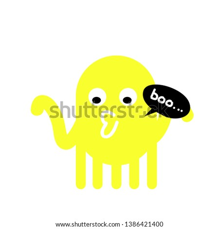 yellow ghost, funny cartoon illustration for t-shirt