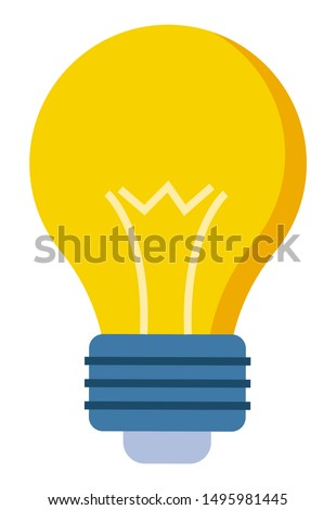 Yellow glass bulb in flat style closeup. Vector lamp symbol of new idea, innovation technology concept. Vector illuminated electrical lightbulb, solution