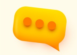 Yellow glossy speech bubble illustration. Social network communication concept. Vector illustration