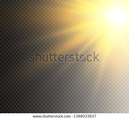 Yellow glowing light burst explosion on transparent background. Vector illustration light effect decoration with ray. Bright star. Translucent shine sun