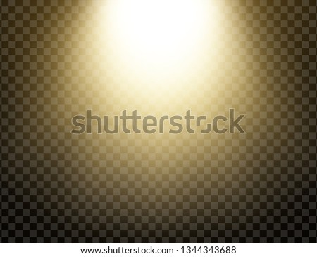 Yellow glowing light explodes isolated on transparent background. Sun rays. Paradise glow. Realistic decoration effect. Vector illustration