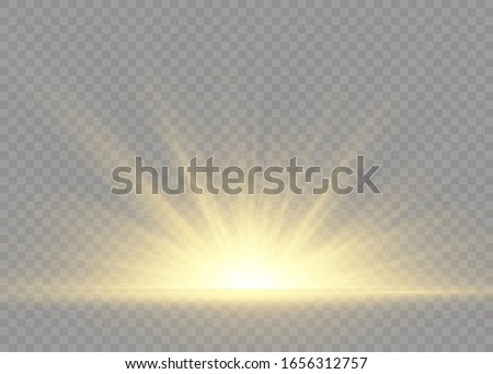 Yellow glowing lights sun rays. Flash of sun with rays and spotlight. The star burst with brilliance. Special lights effect isolated on transparent background. Vector illustration, EPS 10.