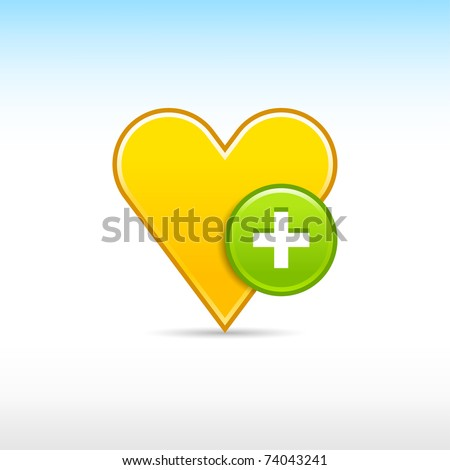 Yellow gold heart favorite web 2.0 icon with green button plus and shadow on white