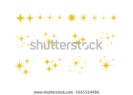 Yellow, gold, orange sparkles symbols vector. Set of original vector stars sparkle icon. Bright firework, decoration twinkle, shiny flash. Glowing light effect stars and bursts collection. Vector Set