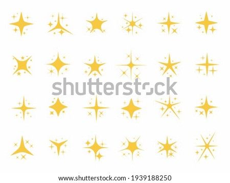 Yellow, gold Sparkling stars. shiny sparks, glitter light star and sparkle elements