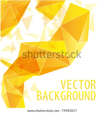 Yellow gold triangle abstract vector background