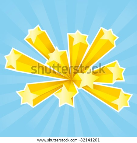 Yellow golden retro stars appearing like fireworks or a an explosion in front of a blue beamy background