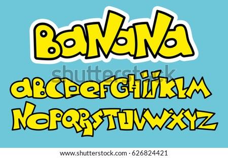 yellow graffiti font alphabet