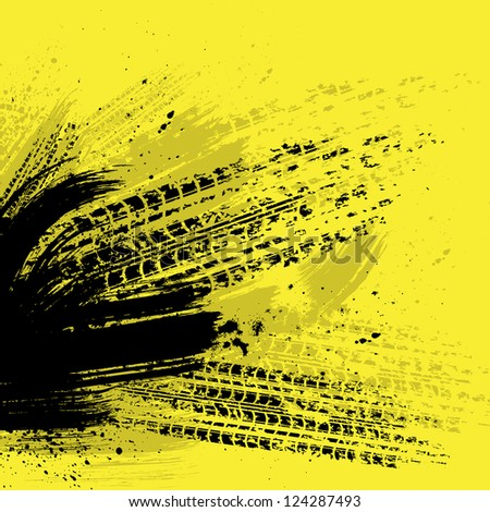 Yellow grunge background with tire tracks