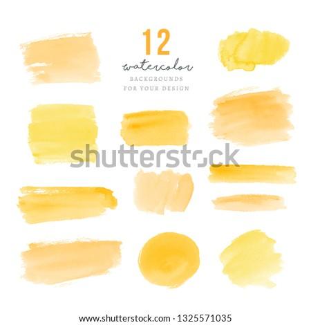 Yellow hand drawn splotches for design