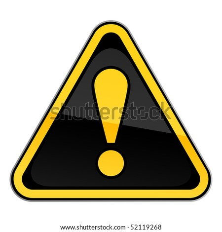Yellow and black hazard warning attention road sign with exclamation mark on white background