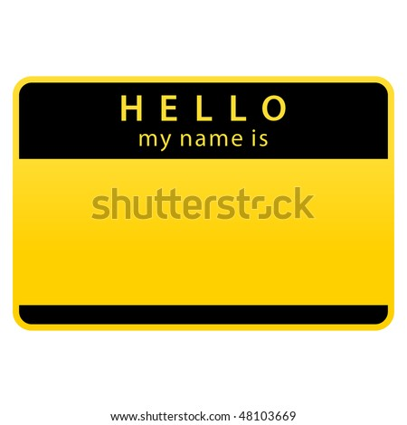 Yellow warning name tag sticker on white background