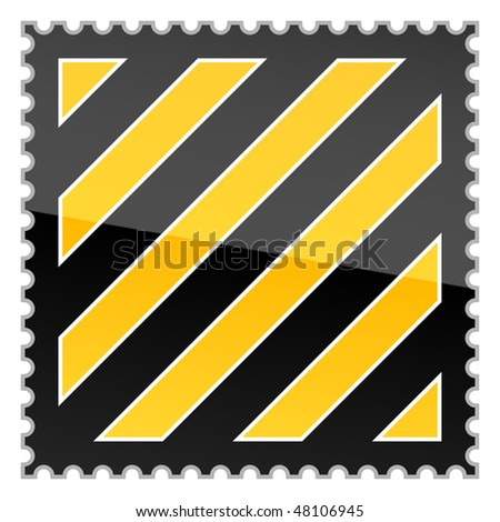 Yellow hazard warning postage stamp with warning stripes on white background