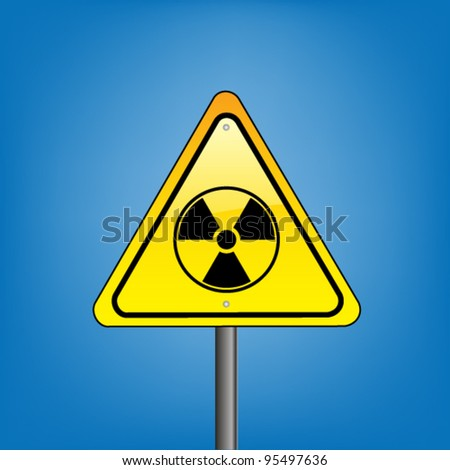Yellow hazard warning sign  against blue sky - nuclear radiation warning, vector version