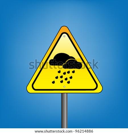 Yellow hazard warning sign on a white background - heavy rain warning, vector version
