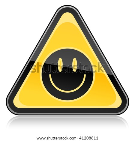 Yellow hazard warning sign with black smiley face symbol on a white background