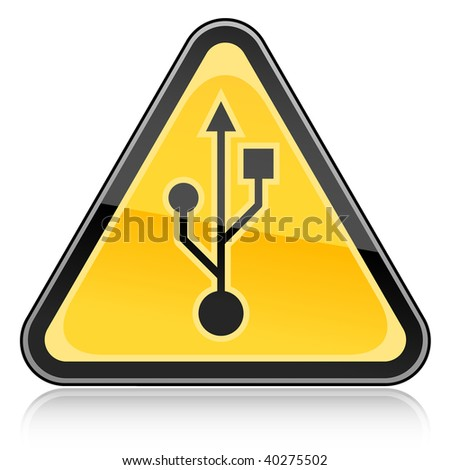 Yellow hazard warning sign with USB symbol on a white background