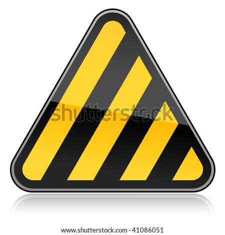 Yellow hazard warning sign with warning stripes symbol on a white background