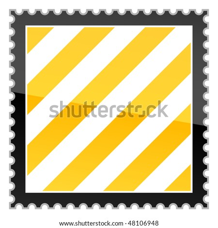 Yellow hazard warning stripes postage stamp on white background