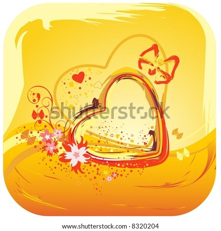 yellow heart and  flower abstract