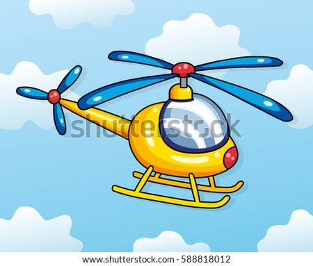 Yellow helicopter on a sky background. Vector illustration.