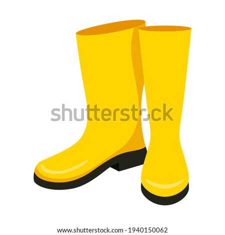 Yellow high clean rubber boots. Gardening, autumn. Flat style. Isolated on a white background. Foto stock ©