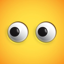 Yellow high-detailed emoticon eyes looking left, vector illustration