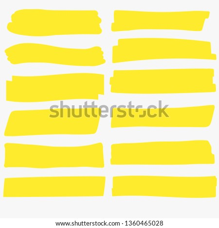 Yellow highlight marker. Brush lines. Highlighter Marker pen underline strokes, hsnd drawing design. Vector