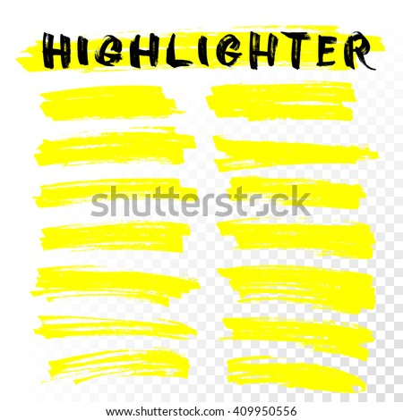 Yellow Highlighter Marker Strokes. Vector brush pen underline lines. Yellow watercolor hand drawn highlight set