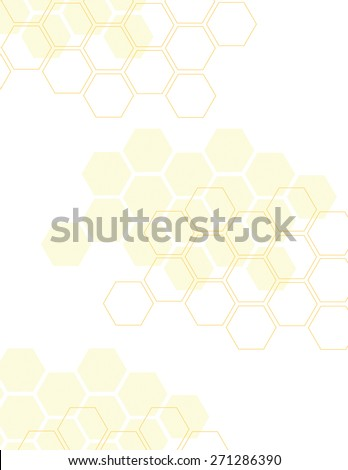 Yellow honey comb pattern over white background