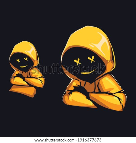 Yellow hoodie jacket cross eye character. Color full 3d illustration human skull with a cross in the eyes