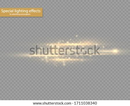 Yellow horizontal lens flares pack. Laser beams, horizontal light rays. Beautiful light flares. Glowing streaks on transparent background. Bright gold glares. Vector illustration, EPS 10.