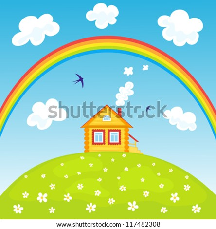 Yellow house on the hill and rainbow. Summer landscape. Vector illustrator.
