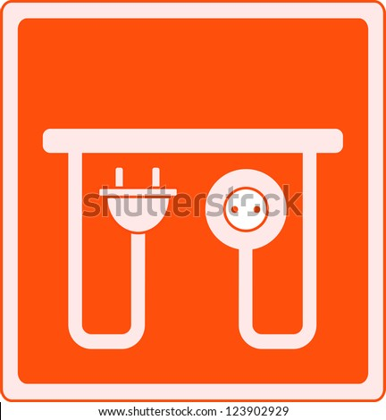 yellow icon with AC outlet and plug - electrical symbol
