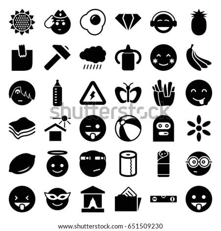 yellow icons set set of 36