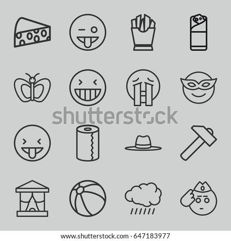 yellow icons set set of 16