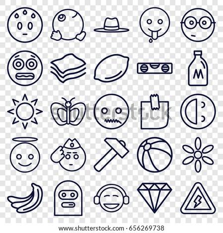 yellow icons set set of 25