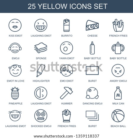 yellow icons. Trendy 25 yellow icons. Contain icons such as kiss emot, laughing emot, burrito, cheese, french fries, emoji, sponge, yawn emot. yellow icon for web and mobile.