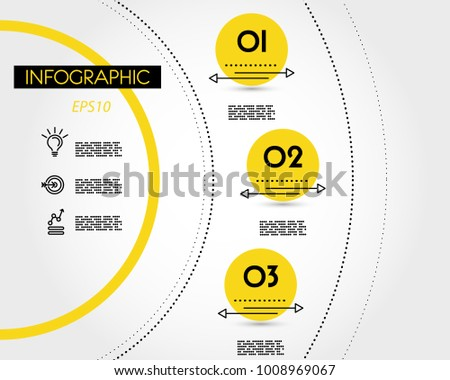 yellow info template with dotted rings, concept of options