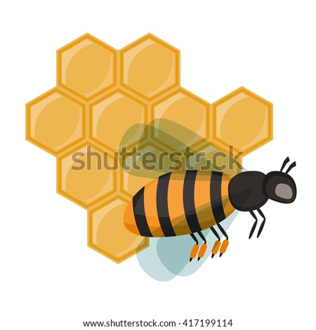 Funny Cute Cartoon Bee Flying In Front Of A Orange Hive Vector Illustration