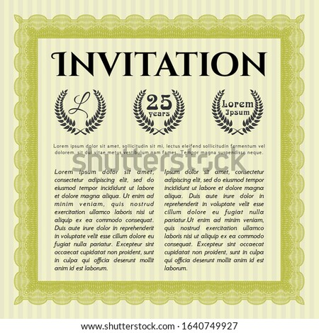 Yellow Invitation. Printer friendly. Good design. Customizable, Easy to edit and change colors.