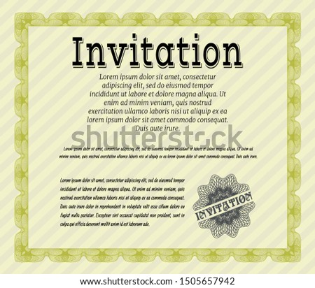 Yellow Invitation template. Good design. Complex background. Customizable, Easy to edit and change colors.