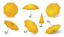 Yellow isolated and realistic umbrella icon set seven different locations of the yellow umbrella vector illustration