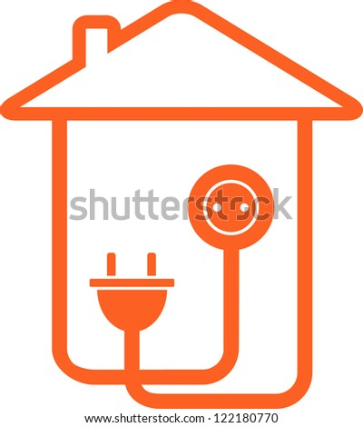 yellow isolated electrical symbol with house silhouette