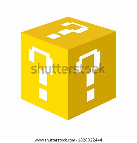 Yellow isometric cube with white question marks on it. Element of an eight-bit pixel game. Vector illustration Сток-фото ©