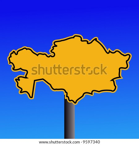 yellow Kazakhstan map warning sign on blue illustration