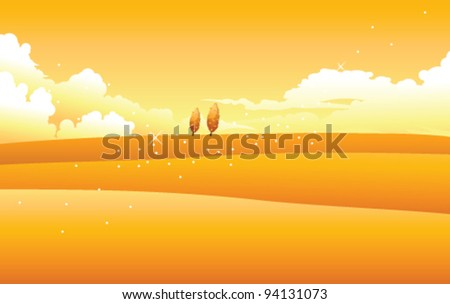 Yellow landscape with clouds in sky