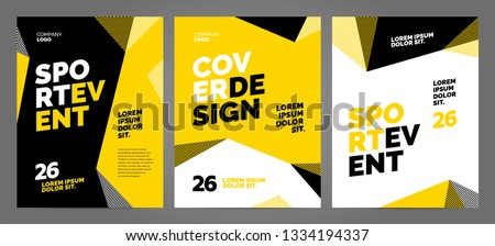 Yellow Layout design template for sport event, tournament or competition. Sports background.