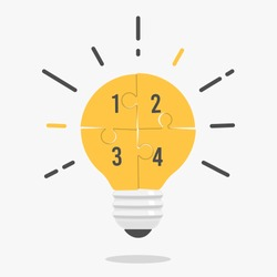 Yellow light bulb consisting of puzzle pieces isolated. Flat style. Idea, business, solution, work, insight, brainstorm concept.